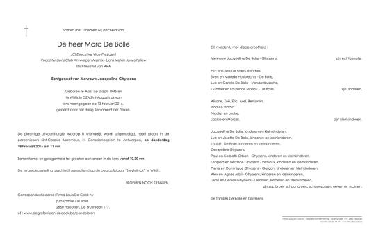 Overlijdensbericht Marc De Bolle
